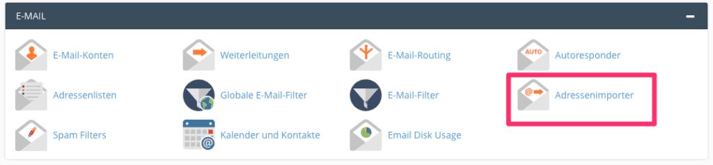 Domain-Mailkonten in Ihren v3-Account als Tabelle importieren
